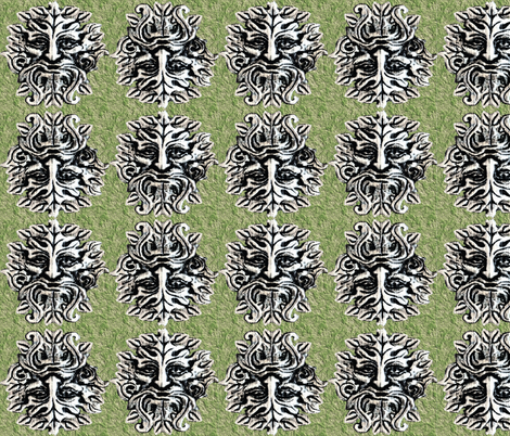 Green Man fabric by rima on Spoonflower - custom fabric