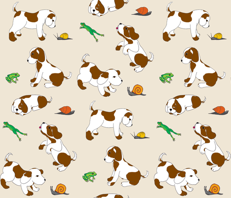 Frogs and snails and puppy dog tails - beige fabric by victorialasher on Spoonflower - custom fabric