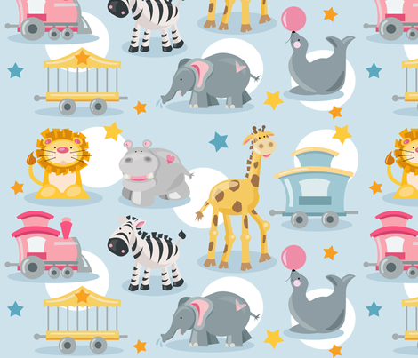 Lil' Circus Train fabric by shalaetippetts on Spoonflower - custom fabric