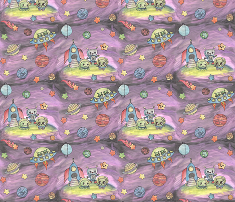 Baby Aliens fabric by annacole on Spoonflower - custom fabric