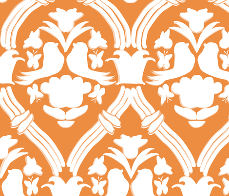 "BIG, HAPPY DAMASK in ""TANGERINE"" fabric by trcreative on Spoonflower - custom fabric"