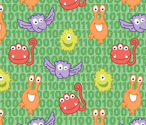 Monster Bytes on Green fabric by sew-me-a-garden on Spoonflower - custom fabric