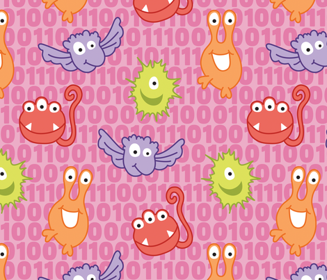 Monster Bytes on Pink fabric by sew-me-a-garden on Spoonflower - custom fabric