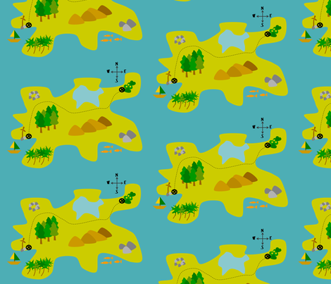 Treasure map fabric by rosapomposa on Spoonflower - custom fabric