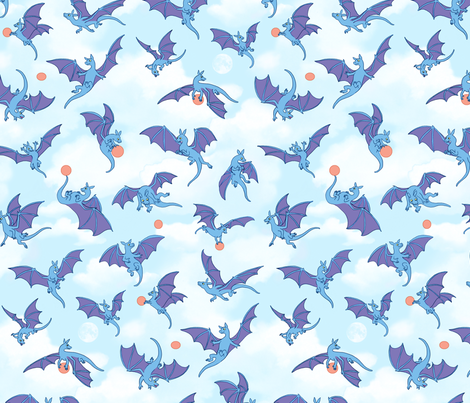 Boy Dragons Play Ball fabric by natashad on Spoonflower - custom fabric