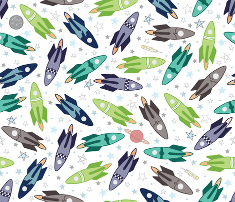 the future ahead: rockets and stars. fabric by babysisterrae on Spoonflower - custom fabric