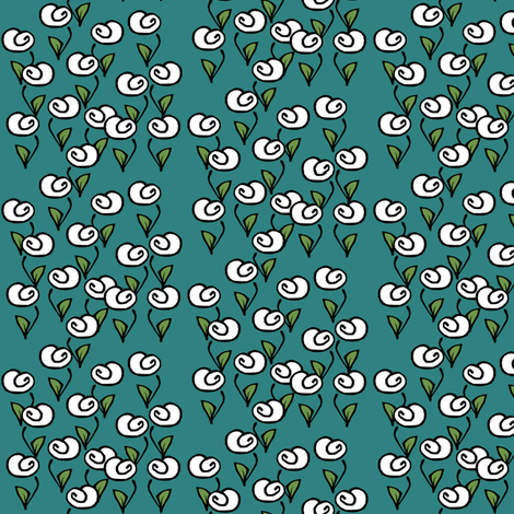 White Flowers on Turquoise fabric by pond_ripple on Spoonflower - custom fabric