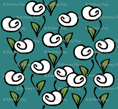 White Flowers on Turquoise