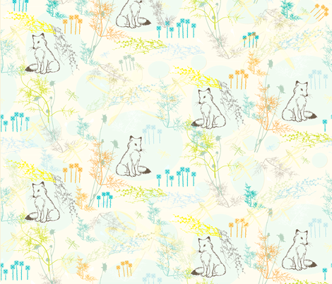 Fox & Dragonflies fabric by the_lovely on Spoonflower - custom fabric