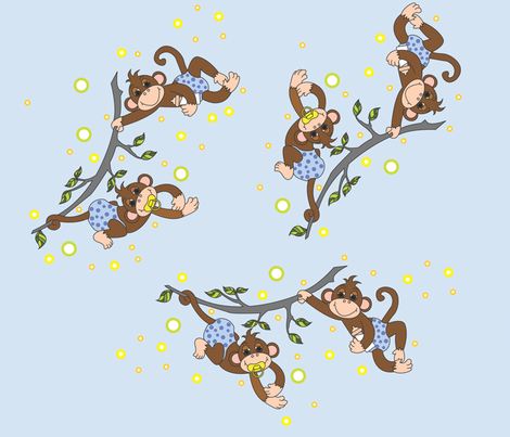 Baby_Monkey_Shines__blue fabric by hissyfitz on Spoonflower - custom fabric