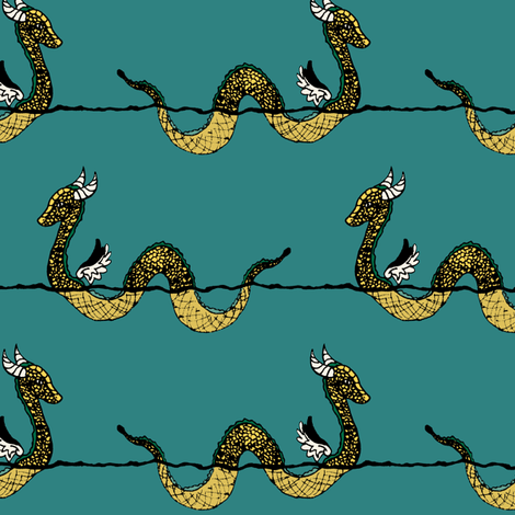 Golden Sea Serpent fabric by pond_ripple on Spoonflower - custom fabric