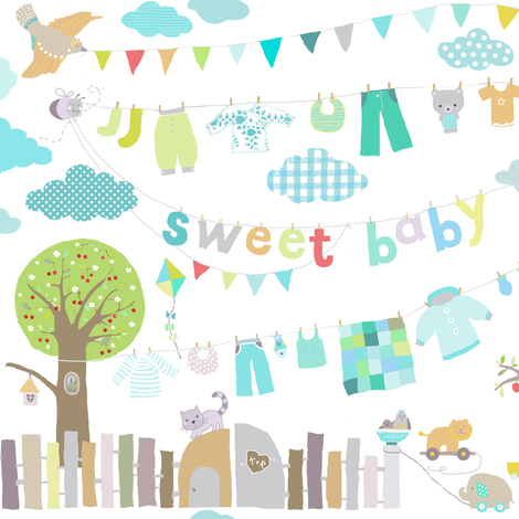 sweet baby boy fabric by katarina on Spoonflower - custom fabric