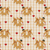 Gingerbread Family Hearts & Plaid