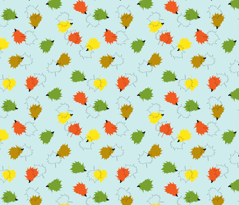 Hedgehogs & Leaves - Blue Background fabric by pininkie on Spoonflower - custom fabric