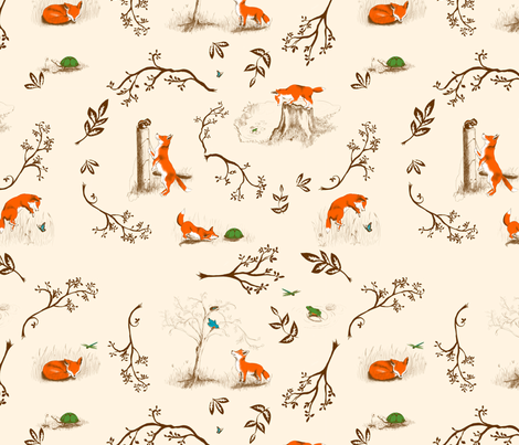 fox toile fabric by rose'n'thorn on Spoonflower - custom fabric