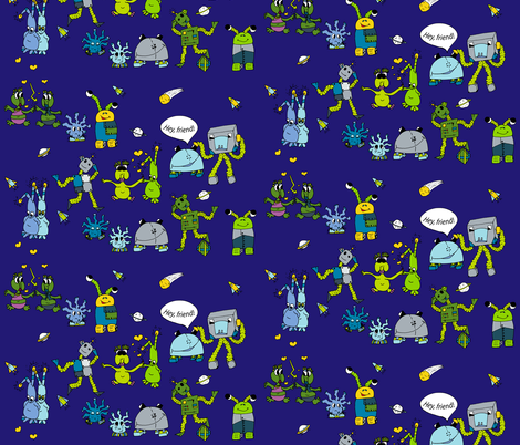 Robos and friends fabric by gespür_design on Spoonflower - custom fabric