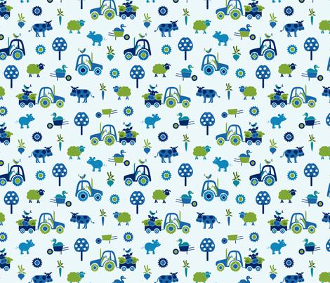 farm_print_blue fabric by juditgueth on Spoonflower - custom fabric