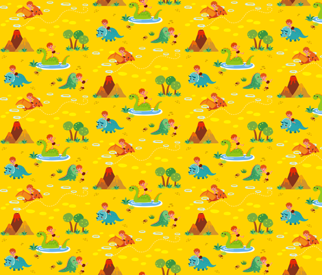 Fun with Dinosaurs | Yellow fabric by irrimiri on Spoonflower - custom fabric