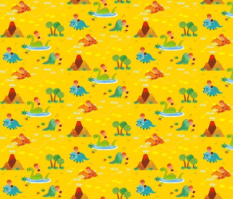 Fun with Dinosaurs | Yellow fabric by irrimiri on Spoonflower - custom fabric