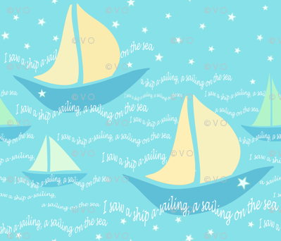 A lullaby: I saw a boat a-sailing, a sailing on the sea