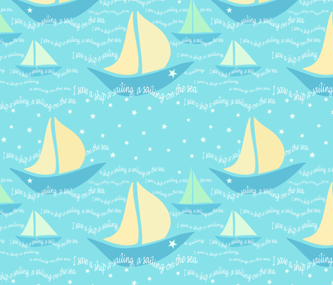 A lullaby: I saw a boat a-sailing, a sailing on the sea  fabric by vo_aka_virginiao on Spoonflower - custom fabric