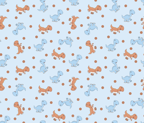 Lukas' Dinos (Project Selvage) fabric by illustrative_images on Spoonflower - custom fabric