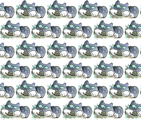 Snail & Kitten fabric by nine_lives_studio on Spoonflower - custom fabric