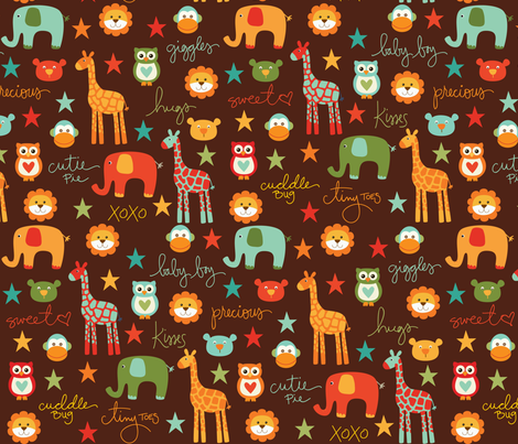 CW_BabyAnimals_Brown fabric by creativitybycrystal on Spoonflower - custom fabric