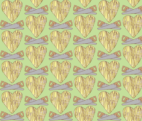 The Lumberjack Who Found the Wooden Heart fabric by sparegus on Spoonflower - custom fabric