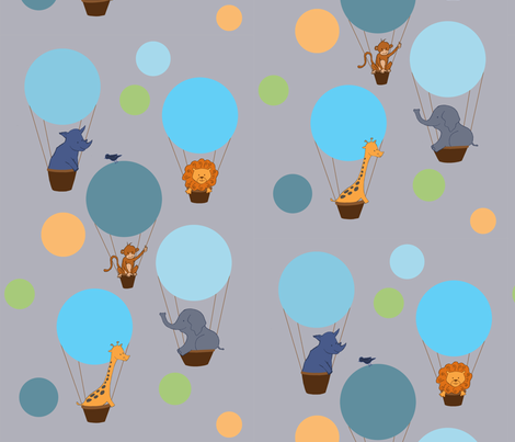 Animal_Balloon_Trip fabric by tamilevin on Spoonflower - custom fabric