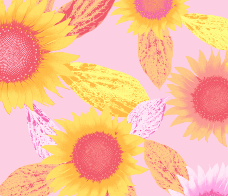 sunflower, pink fabric by neatdesigns on Spoonflower - custom fabric