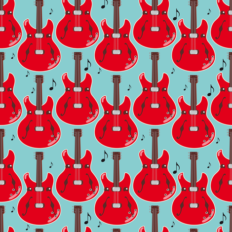 Project Selvage - guitars fabric by verycherry on Spoonflower - custom fabric