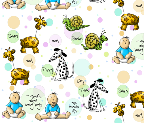 Snips and Snails by sipiwesk fabric by sipiweske on Spoonflower - custom fabric