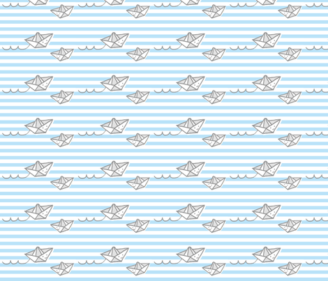 Hello Paper Boats fabric by anda on Spoonflower - custom fabric