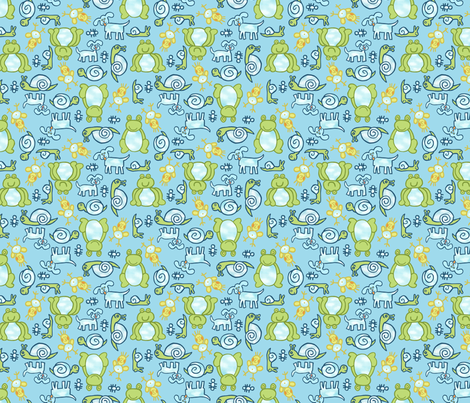 frogs_snails___puppy_dog_tails fabric by elizabethfelts on Spoonflower - custom fabric