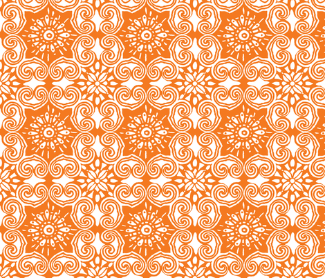 AsianLace_orange fabric by luana_life on Spoonflower - custom fabric