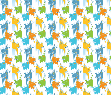 Baby Birds & Bulls fabric by oddlyolive on Spoonflower - custom fabric