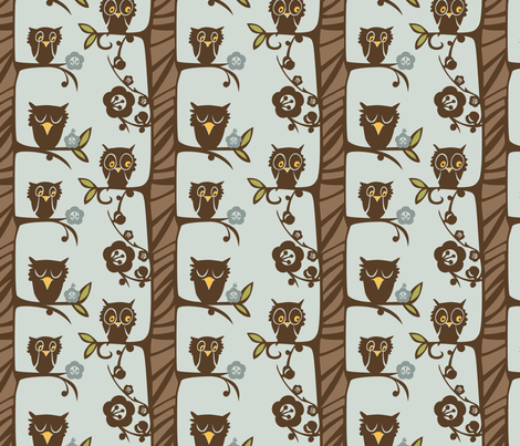 Cutpaper Owl fabric by locamode on Spoonflower - custom fabric