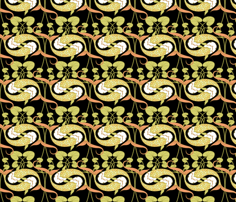 koi_black fabric by juditgueth on Spoonflower - custom fabric