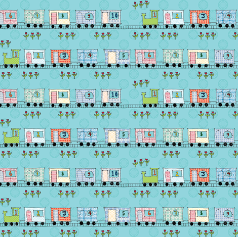 a number train passing by fabric by shiny on Spoonflower - custom fabric