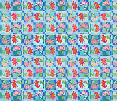 flowergrid fabric by janelle_piotrowski on Spoonflower - custom fabric