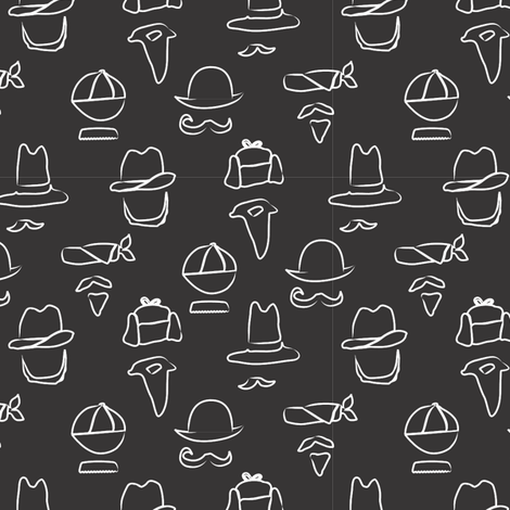 LaraGeorgine_hats_and_mustaches fabric by larageorgine on Spoonflower - custom fabric