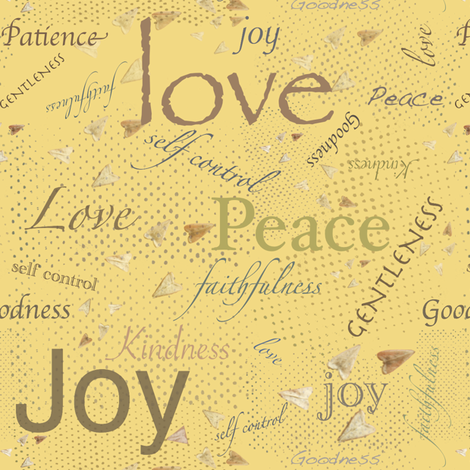 Love Joy Peace -Yellow fabric by petals_fair_(peggy_brown) on Spoonflower - custom fabric