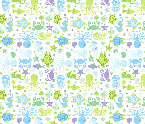 Sea Creatures Blues fabric by alissecourter on Spoonflower - custom fabric