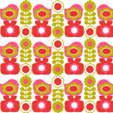 folk_floral_bird_pink fabric by aliceapple on Spoonflower - custom fabric
