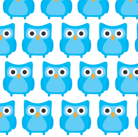Sweet Blue Owls fabric by ankepanke on Spoonflower - custom fabric