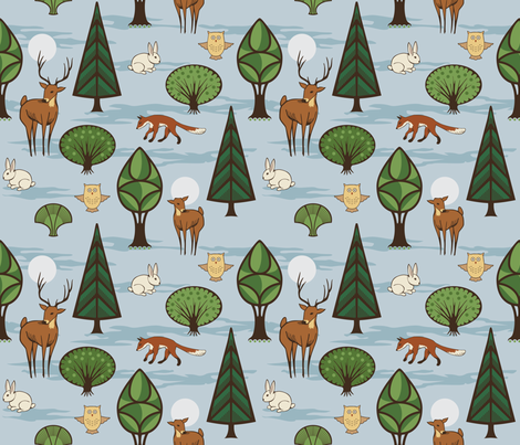 Woodland Creatures fabric by crowcreative on Spoonflower - custom fabric