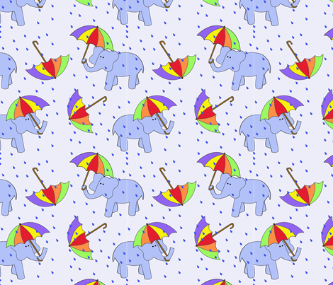 rain elephants fabric by letterkdesigns on Spoonflower - custom fabric