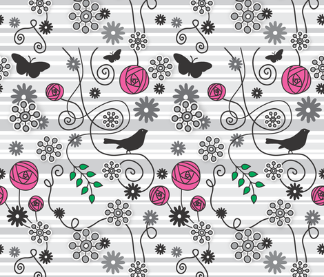 Flowers Birdies and Butterflies fabric by ankepanke on Spoonflower - custom fabric