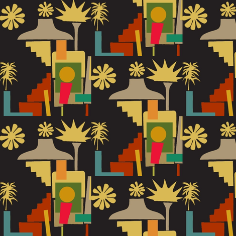 Aloha Shacks fabric by boris_thumbkin on Spoonflower - custom fabric